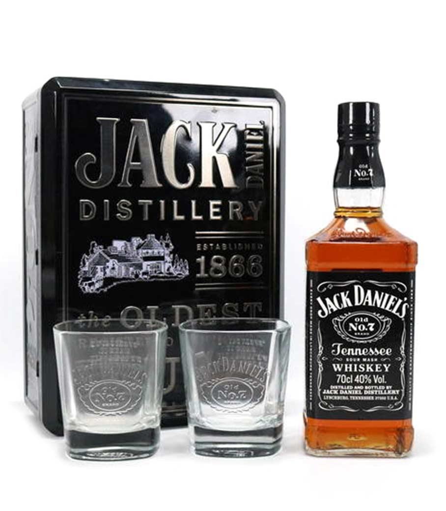 JACK DANIEL'S WHISKEY 700ml GIFT PACK ΜΕ 2 ΣΥΛΛΕΚΤΙΚΑ ΠΟΤΗΡΙΑ